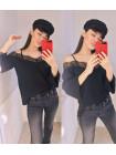 Модная однотонная женская блузка с рукавом и открытыми плечами