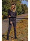 Чорний велюровий спортивний костюм для жінок