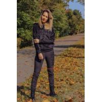 Черный велюровый спортивный костюм для женщин