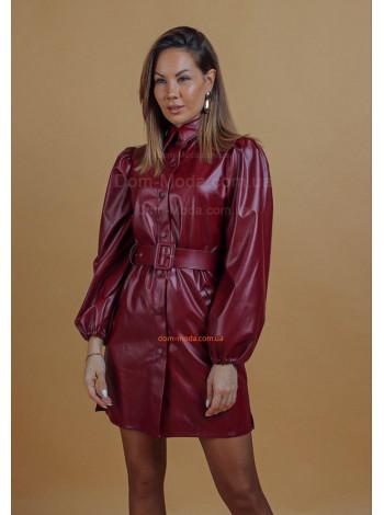 Женское кожаное платье рубашка с длинным рукавом