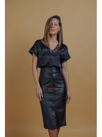 Женская кожаная юбка карандаш