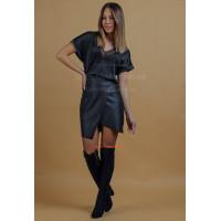 Черная кожаная юбка женская