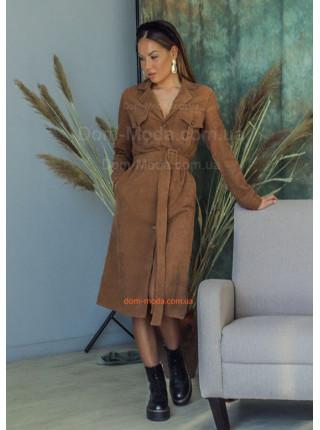 Вельветова сукня рубашка з довгим рукавом