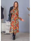 Струмлива сукня міді з довгим рукавом