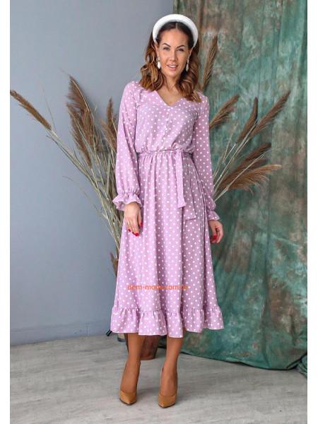 Нежное платье миди в горошек