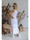 Трикотажное длинное платье майка в пол с разрезами