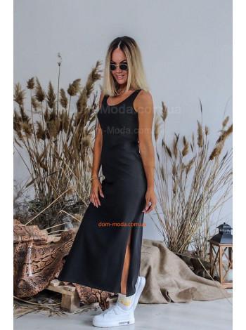 Трикотажне довге плаття майка в пол з розрізами