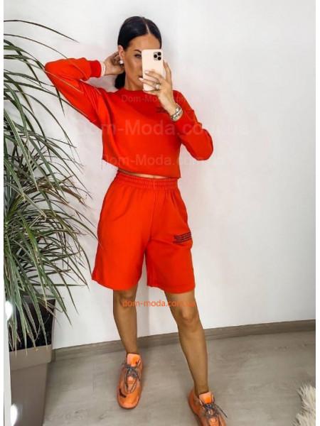 Жіночий спортивний костюм з шортами і укороченим худі