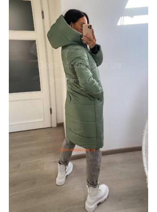 Подовжена зимова куртка жіноча з капюшоном