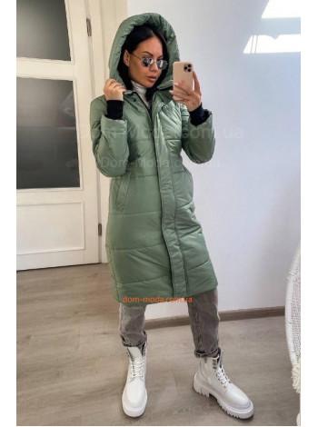 Удлиненная зимняя куртка женская с капюшоном