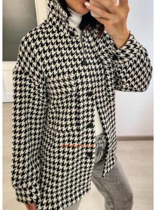 Тепла сорочка жіноча в гусячу лапку