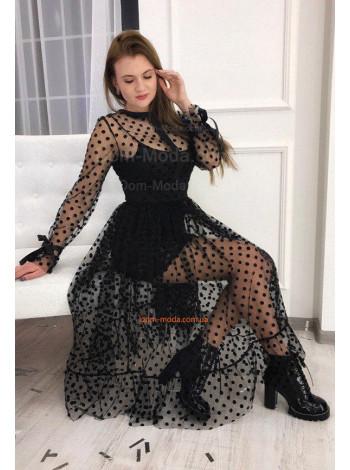 Вечернее черное платье с сеткой