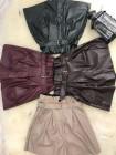 Кожаные шорты юбка с высокой талией