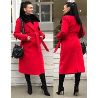 Зимове утеплене кашемірове пальто на синтепоні за коліно