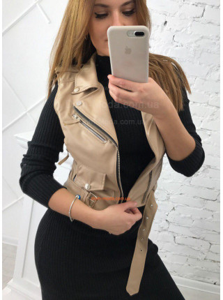 Шкіряна жилетка косуха для жінок