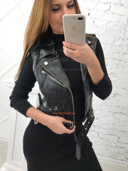 Кожаная жилетка косуха для женщин
