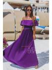 Шелковое платье в пол с открытыми плечами