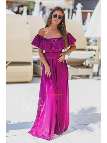 Шовкове плаття в підлогу з відкритими плечима