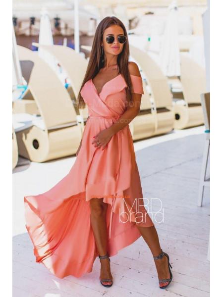 Шелковое длинное платье с запахом