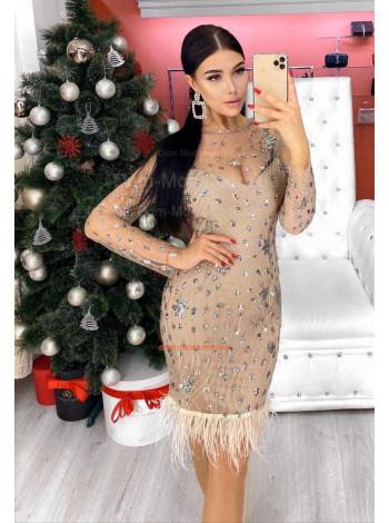 Вечернее короткое платье с бахромой