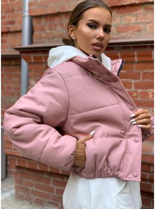 Жіноча шкіряна куртка на силіконі