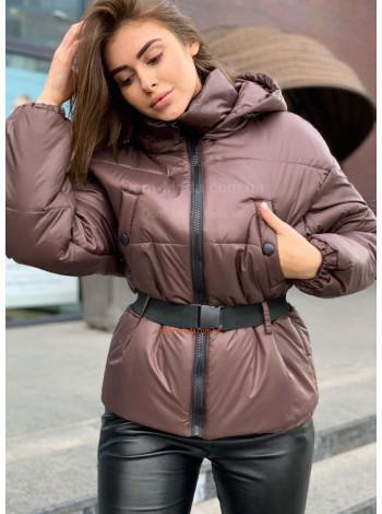 Коротка куртка з високим коміром і поясом