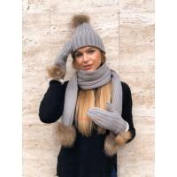 Женский комплект шапка шарф и варежки