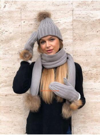 Жіночий комплект шапка, шарф і рукавиці