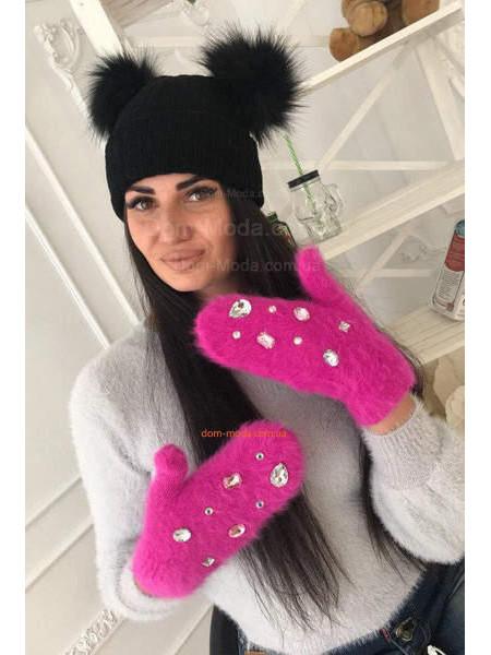 Модні рукавички з ангори з камінням