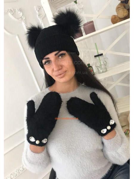 Жіночі рукавиці з камінчиками
