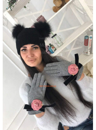 Женские перчатки на флисе с розочкой