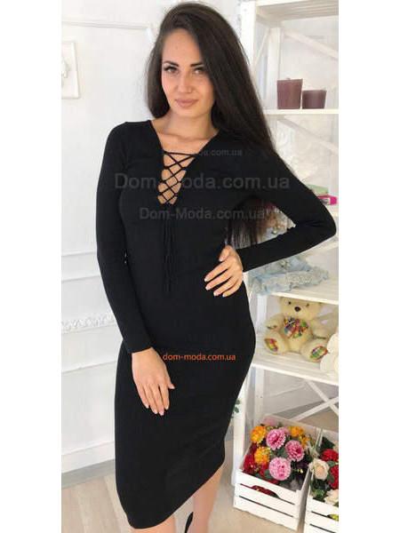 Модне трикотажне плаття з люверсами