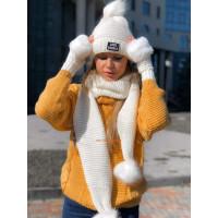 """Комплект: шапка, шарф и рукавицы """"Вязка"""""""
