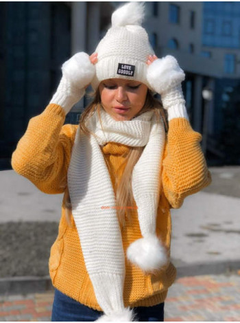 """Комплект: шапка, шарф і рукавиці """"В'язка"""""""