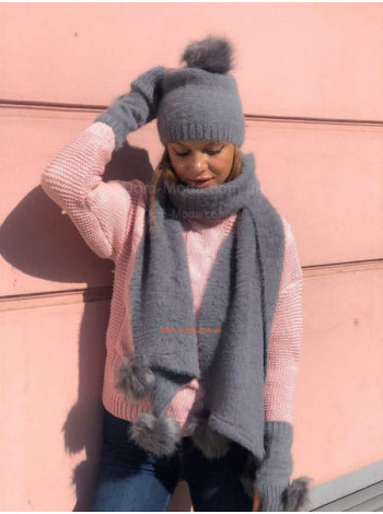 Шапка шарф і рукавички з хутром