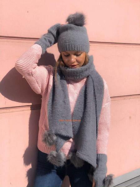Шапка шарф и перчатки с мехом
