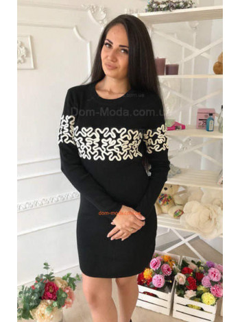Черное трикотажное платье с рукавом