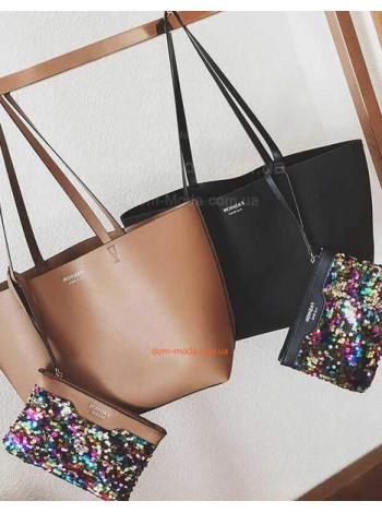 Объемная сумка и косметичка с пайетками