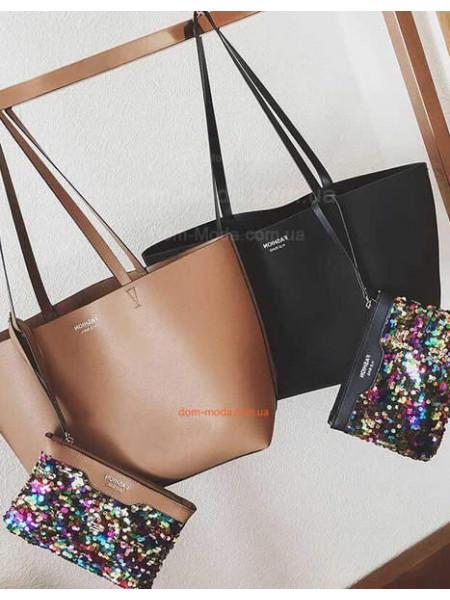 Об'ємна сумка і косметичка з паєтками