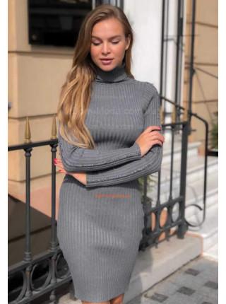 Теплое платье в рубчик с длинным рукавом