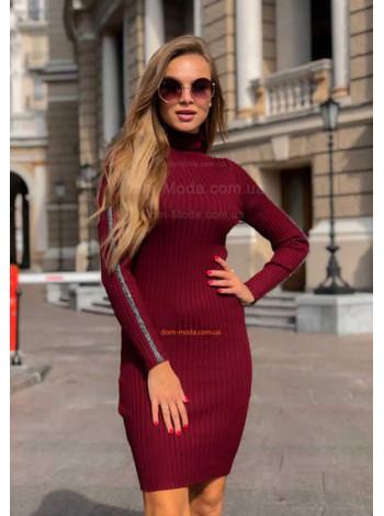 Тепла сукня в рубчик з довгим рукавом