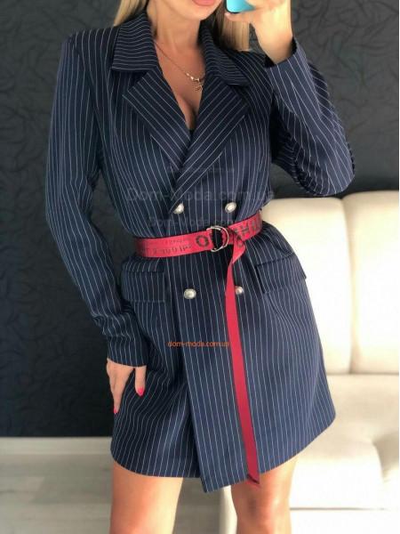 Женский удлиненный пиджак в полоску