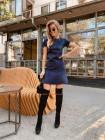 Модное замшевое платье с коротким рукавом