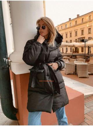 Стильная удлиненная теплая куртка с поясом