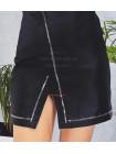 Короткая кожаная юбка с вырезом