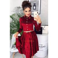 Женское бархатное платье с поясом