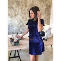 Короткое бархатное платье с небольшим рукавом