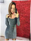 Короткое облегающее платье с длинным рукавом