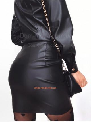 Стильная кожаная юбка с карманами