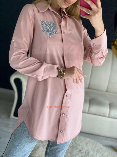Модная удлиненная рубашка с длинным рукавом